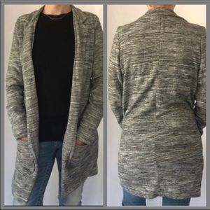 ANTHROPOLOGIE TERRY LONG HEATHERED GRAY CARDIGAN